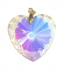 PENDANT/NECKLACE GT Glass Crystal Brilliant LG PASTEL IRIDESCENT FACETED HEART