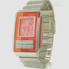 Casio LA201W-4A Ladies Stainless Steel FUTURIST Orange Red LCD Watch Dual Time