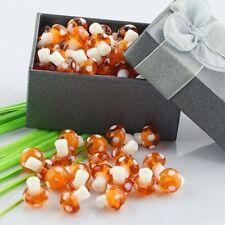 Cuteness Orange Lampwork Glass Crystal Glass Mushroom Charms Loose Beads