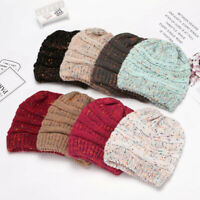 Men Women Unisex Stretch Knit Baggy Beanie Winter Hat Ski Slouchy Knitted Cap UK