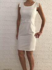 Women's Cap Sleeve Striped White Bodycon Formal Office Wedding Race Midi Dress