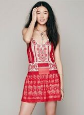 Free People Red Moonlight Dancer Embroidered Mini Dress Large Retails $168.00