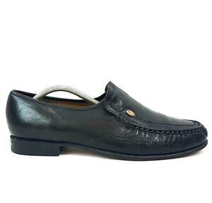 Barker Mens Loafers UK 10 Black Soft Leather Shoes Made England