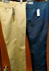 NWT Polo Ralph Lauren Mens CLASSIC FIT Navy or Cream Linen Blend Pant