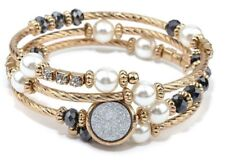 Coil Bracelet White Druzy Mixed Pearls Crystals Beads Coil Bracelet Gold Toned