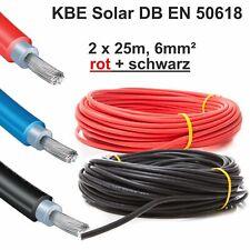"""Solarkabel, 2 x 25m, 6mm² ROT+SCHWARZ, neueste Norm """"EN 50618"""", KBE, Deutschland"""