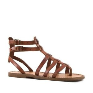 Handmade strappy vintage women sandals light brown genuine leather Made in Italy