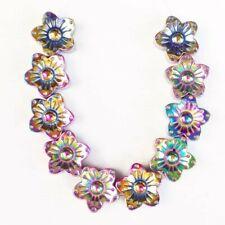 Flower Pendant Bead H04564 10Pcs/Set 10x4mm Carved Rainbow Hematite