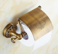 Antique Brass Wall Mount Bathroom Toilet Tissue Paper Roll Holder Cover qba487
