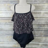 Maxine of Hollywood Size 14 One Piece Swimsuit Black Brown Geometric Modest