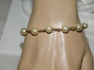 """Wired Bead White Pearl Yellow Gold Filled 7.5"""" Bracelet 10a 107"""