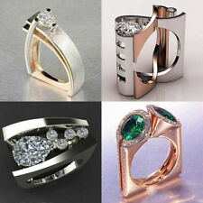 Unique Geometry Emerald Silver/Gold/Rose Gold Green Ring Women Wedding Jewelry