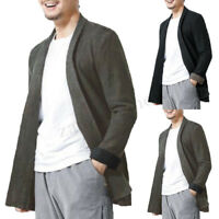 L-5XL Men Fashion Jacket Cape Long Sleeve Cardigan Overcoat Coat Blazer Sweater