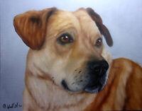 Original Dog Oil Painting Portrait On 8x10 Wood Panel Board