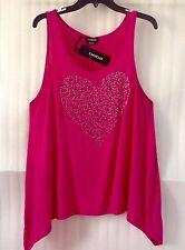 Bebe Fuschia Blouse Asymmetric Hem Tunic Rhinestones Pink Top size 16/XL New