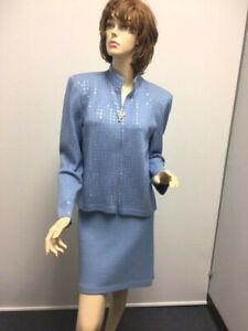 St John Evening Jacket Skirt suit Blue Piallettes NWOT size 10 12