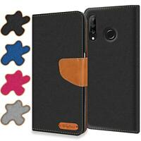 Handy Hülle Huawei P30 Lite Tasche Wallet Flip Case Schutz Hülle Stoff Cover