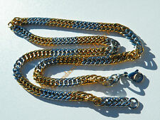 Chaine 56 cm Collier Bicolore Argent Or Acier Inoxydable Maille Gourmette 6 mm
