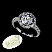Genuine Swarovski Crystal 18k White Gold Plated Engagement Ring Size 6 7 8 M O Q