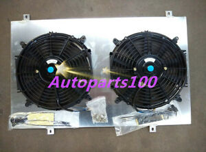 Aluminum radiator shroud + Fans FOR NISSAN GQ PATROL Y60 4.2L Petrol TB42S TB42E