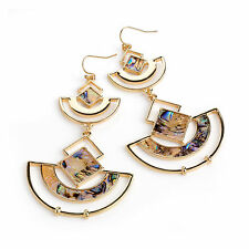 Gold Coloured Blue Shell Effect Oval Drop Earrings Ladies Fashion Jewellery