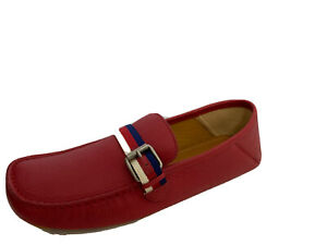 Gucci Mens Red Suede Drivers 6 Fits US 7 M Made in Italy Moccasins Car Shoes