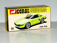 DISPLAY BOX FOR CORGI JUNIORS 86 FIAT X19 - LIME GREEN -  FREE UK POST