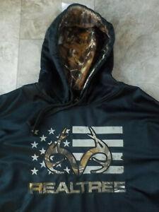 (XL) RealTree by Buckhorn River Men's BLACK CAMO Hooded Pullover Sweatshirt