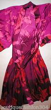 Womens New Designer Natori Night Robe M Dark Red Purple Flowers NWT Silky Pretty