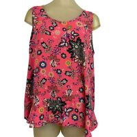 Ann Taylor loft Woven Blouse top pink floral Sleeveless Size extra large Women's