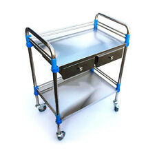 Hospital Medical Dental Lab Cart Trolley Stainless Steel Two Layers Drawer UC913