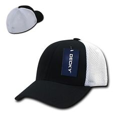 Black White Flex Low Crown Cotton Mesh 6 Panel Baseball Golf Fit Fitted Hat Cap
