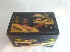 Emson Vintage Black Jewelry Box Japanese Music Box, Abalone Inlay Hand Painted