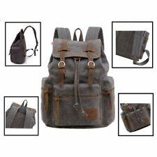 Canvas Backpack Mens Women School Travel Rucksack Laptop Satchel Shoulder Bag dd