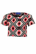 Women's Black Pink Aztec Chiffon Oversized Ladies Short Sleeve Crop Top