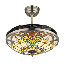 LED Ceiling Fan Light Chandelier Lamp Retractable Blade Tiffany Baroque Style