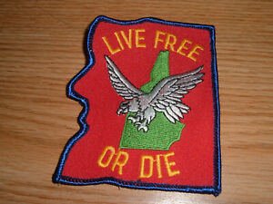 VINTAGE LIVE FREE OR DIE NEW HAMPSHIRE EMBROIDERED PATCH