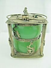 Vintage Chinese wine warming pot Metal & Glass signed