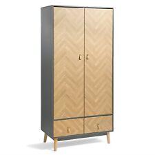 VonHaus Double Wardrobe | Herringbone 2 Door 2 Drawer Wooden Bedroom Storage