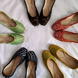 Pakistani Indian Khussa Flat Mojari Shoes Beaded Embroidered - Green