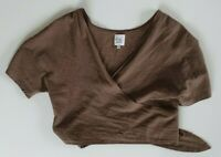 Raised by Wild Womens Size L Casual Khaki Cotton Short Sleeve Cropped Wrap Top