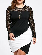 Ladies Plus Size Lace Insert Bodycon Midi Dress XL -5XL Long Sleeve Dress