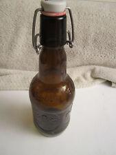 Vintage Grolsch Beer Bottle Porcelain Bale Top Brown Amber Glass