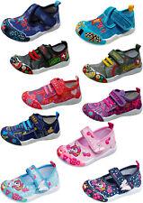 Kinder Stoff Schuhe Hausschuhe Klett Sneaker Freizeit Kita Babyschuhe Gr. 24-30