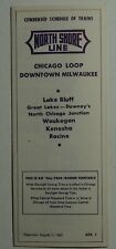 North Shore Line 1962 Public CondensedTimetable - 8-1-62
