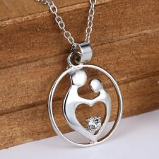 Engraved Love Silver Crystal Rhinestone Pendant Necklace Womens Jewellery Gift