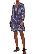 Isabel Marant Thurman Embroidered Printed Silk Boho Dress Size FR38