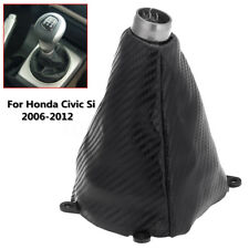Carbon Fiber Leather Gear Shift Knob Gaitor Boot Cover For Honda Civic Si 06-12