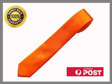 Orange New Slim Solid Mens silk Tie groom wedding skinny Necktie