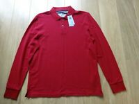M&S MARKS & SPENCER RED CLIMATE CONTROL LONG SLEEVE POLO TOP UK SIZE MEDIUM